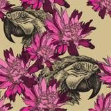 Naadloos behang met roze bloemen en papegaai, hand-trekt V Royalty-vrije Stock Foto