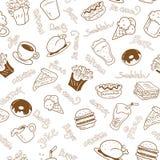 Naadloos behang met snel voedsel Royalty-vrije Stock Foto's