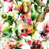 Naadloos behang met tuinbloemen Stock Afbeelding