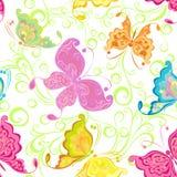 Naadloos behang met vlinders Stock Afbeeldingen