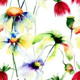 Naadloos behang met wilde bloemen Stock Afbeelding