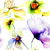 Naadloos behang met wilde bloemen Royalty-vrije Stock Afbeelding