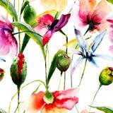 Naadloos behang met wilde bloemen Stock Afbeeldingen