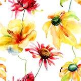 Naadloos behang met wilde bloemen Royalty-vrije Stock Afbeeldingen