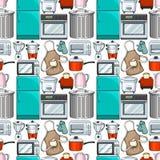 Naadloos behangontwerp met keukengerei stock illustratie