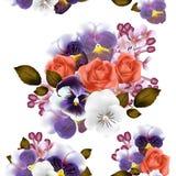 Naadloos behangpatroon met rozen en viooltjesbloemen Stock Afbeeldingen