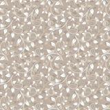 Naadloos beige patroon met bladeren. stock illustratie