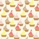 Naadloos Bevroren Bedekkend Patroon Cupcakes Stock Foto