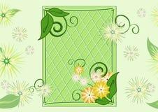 Naadloos blad-en-bloemen groen patroon (vector) Royalty-vrije Stock Foto