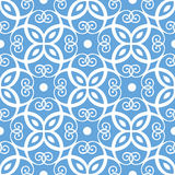 Naadloos blauw damastpatroon Royalty-vrije Stock Afbeeldingen