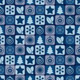 Naadloos blauw Kerstmispatroon Stock Afbeelding