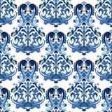 Naadloos blauw patroon Royalty-vrije Stock Afbeeldingen