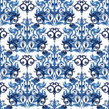 Naadloos blauw patroon Stock Afbeelding