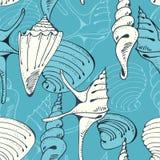 Naadloos blauw patroon met shells Stock Fotografie