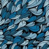 Naadloos blauw patroon met veer Stock Foto