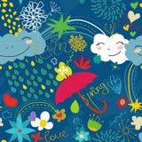Naadloos blauw patroon met wolken Royalty-vrije Stock Afbeelding