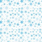 Naadloos blauw patroon van sneeuwvlokken Royalty-vrije Stock Fotografie