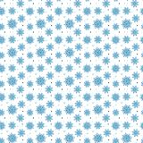 Naadloos blauw patroon van vele sneeuwvlokken op witte achtergrond CH Royalty-vrije Stock Foto