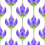 Naadloos bloemen abstract patroon Kleurrijke die druk uit gekleurde purpere bloemen wordt samengesteld De heldere achtergrond van Royalty-vrije Stock Afbeeldingen