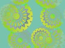 Naadloos bloemen geel patroonturkoois Stock Afbeelding