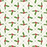Naadloos bloemen geometrisch patroon met ilex. Stock Afbeeldingen