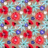 Naadloos bloemen retro patroon Rode, blauwe, witte bloemen op lichtbruine achtergrond stock illustratie