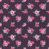 Naadloos bloemen uitstekend romantisch patroon met roze rozen op donkere sjofele achtergrond Retro behangstijl Royalty-vrije Stock Afbeelding