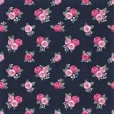 Naadloos bloemen uitstekend romantisch patroon met roze rozen op zwarte sjofele achtergrond Retro behangstijl Stock Afbeelding
