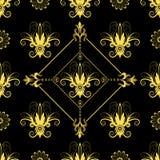 Naadloos bloemen zwart patroon stock illustratie