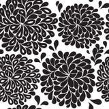 Naadloos bloemen zwart-wit patroon Stock Afbeeldingen