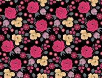 Naadloos bloemenbloempatroon met zwarte achtergrond stock illustratie