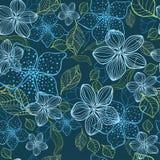 Naadloos bloemenhand getrokken gedetailleerd patroon Stock Foto