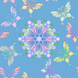 Naadloos bloemenkant met vlinders vector illustratie
