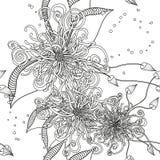 Naadloos Bloemenkrabbelpatroon Als achtergrond met Bladeren Ontwerp z stock illustratie