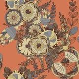 Naadloos Bloemenkrabbelpatroon Als achtergrond met Bladeren Ontwerp z royalty-vrije illustratie
