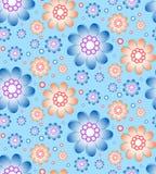 Naadloos bloemenpatroon in blauwe en oranje kleuren Royalty-vrije Stock Foto