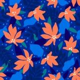 Naadloos BloemenPatroon Bloeit het manier textielpatroon met decoratief tropisch bladeren en koraal op blauwe achtergrond stock illustratie