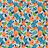 Naadloos BloemenPatroon Bloeit het manier textielpatroon met decoratief tropisch bladeren en koraal op blauwe achtergrond vector illustratie