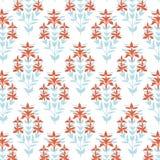 Naadloos BloemenPatroon De blauwe en rode achtergrond van de damastbloem Tegel het verpakken document textuur Hand getrokken vect Stock Afbeelding