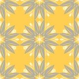 Naadloos BloemenPatroon Heldere gele achtergrond met bloemontwerpen Royalty-vrije Stock Afbeeldingen