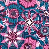 Naadloos bloemenpatroon in krabbelstijl Stock Foto