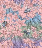 Naadloos bloemenpatroon met bloemen van sinaasappel en hommels Royalty-vrije Stock Foto's