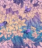 Naadloos bloemenpatroon met bloemen van sinaasappel en hommels Stock Fotografie