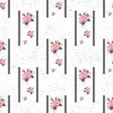 Naadloos bloemenpatroon met bloemen, waterverf Vector illustratie Royalty-vrije Stock Afbeelding