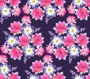 Naadloos bloemenpatroon met boeketten van madeliefje, papaver, kosmos en klokbloemen op donkere purpere achtergrond Romantische d vector illustratie