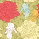 Naadloos Bloemenpatroon met colorfullbloemen Stock Afbeeldingen