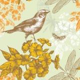 Naadloos bloemenpatroon met een vogel die butterf vliegt Royalty-vrije Stock Fotografie