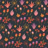 Naadloos bloemenpatroon met hand getrokken wilde bloemen, bladeren en kruiden op donkere achtergrond royalty-vrije illustratie