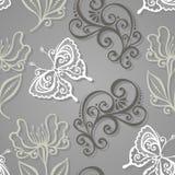 Naadloos Bloemenpatroon met Insecten (Vector) Royalty-vrije Stock Foto