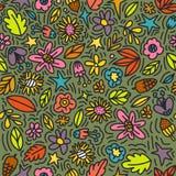 Naadloos bloemenpatroon met krabbelbloemen en bladeren in de herfst natuurlijke kleuren Vector illustratie In bloemen voor royalty-vrije illustratie